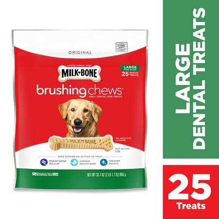 Milk-Bone Brushing Chews Daily Dental Dog Treats, Large, 33.7 Ounces, 25 Bones Per Bag