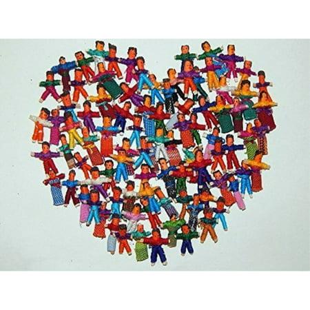 Heart People 100 Tiny Worry Dolls. 50 Boys and 50 Girls - Tiny Girl Tube