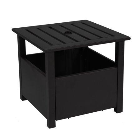 California Umbrella Sunmaster Series Aluminum Side Table With Stand Fillable Base Stone Black