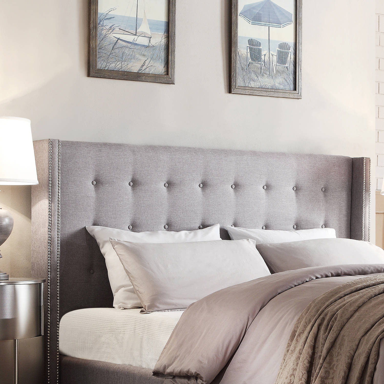 - Curtis I Grey Linen Headboard, Multiple Sizes - Walmart.com