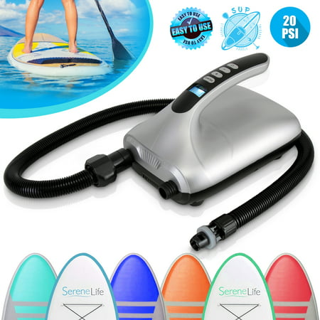 SereneLife SLPUMP30 - Electric Air Pump Compressor / Air Inflator& Air Deflator (for SUP Stand-Up Paddle-Boards & Water Sport Pool (Best Sup Electric Pump)
