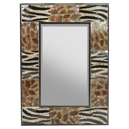 Mirrored Animal - Benzara Appealing Animal Print Metal Mirror - 24.5W x 34H in.