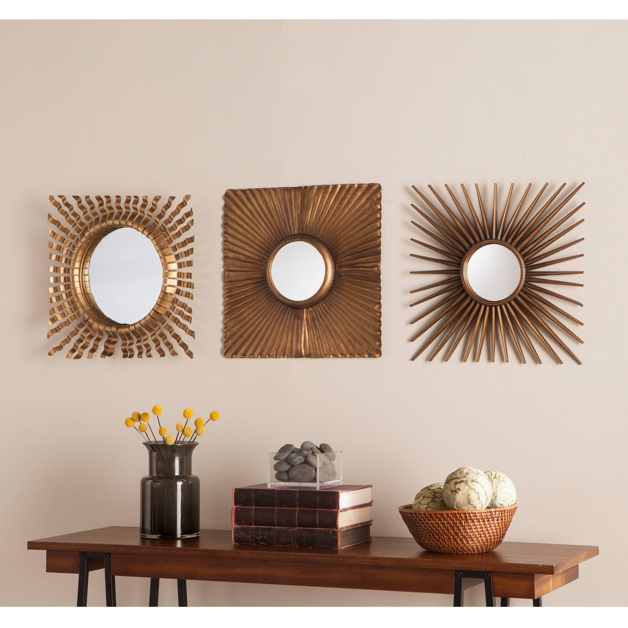 Southern Enterprises Lattris 3-Piece Decorative Mirror Set, Antique Gold