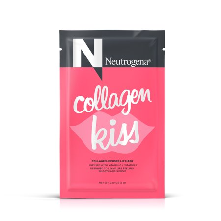 - (3 pack) Neutrogena Collagen Kiss Collagen Infused Lip Mask, with Vitamin E and Vitamin C for Smooth and Supple Lips, Single Use Moisturizing Lip Treatment, 0.1 oz