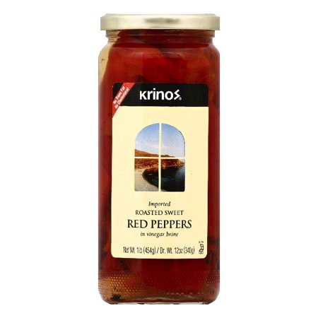 Krinos in Vinegar Brine Roasted Sweet Red Peppers, 1 lb (Pack of 6)
