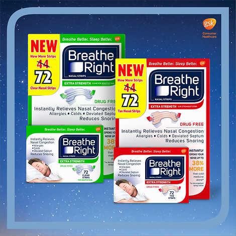 Breathe Right Extra Strength Nasal Strips, 72 Count (TAN) Drug Free