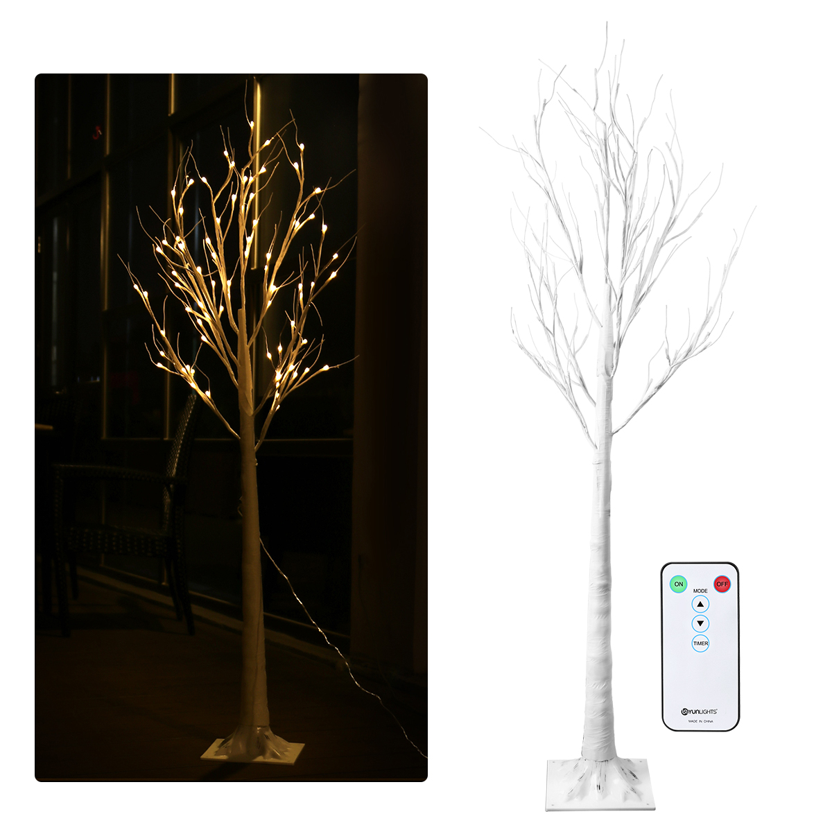 YUNLIGHTS 88 LED Decorative Silver Birch Tree Decorative ...