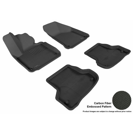 3D MAXpider 2006-2013 Audi A3 Front & Second Row Set All Weather Floor Liners in Black with Carbon Fiber Look (Audi Front Floor Mat)