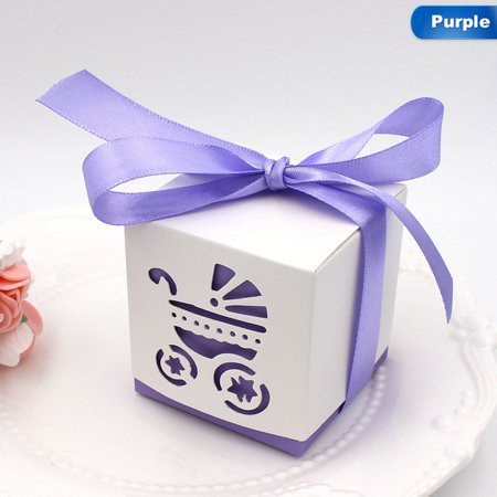 AkoaDa 10 Pcs/ Lot Lovely Square Laser Cut Baby Carriage Cookie Gift Boxes Wedding Favor Baby Shower Candy Treat Bag Party