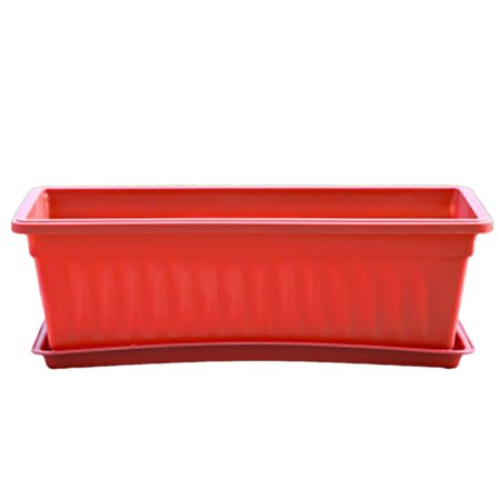 Balcony Rectangular Plant Pot Plastic Flower Garden Nursery Pots Container For Growing Vegetables Red