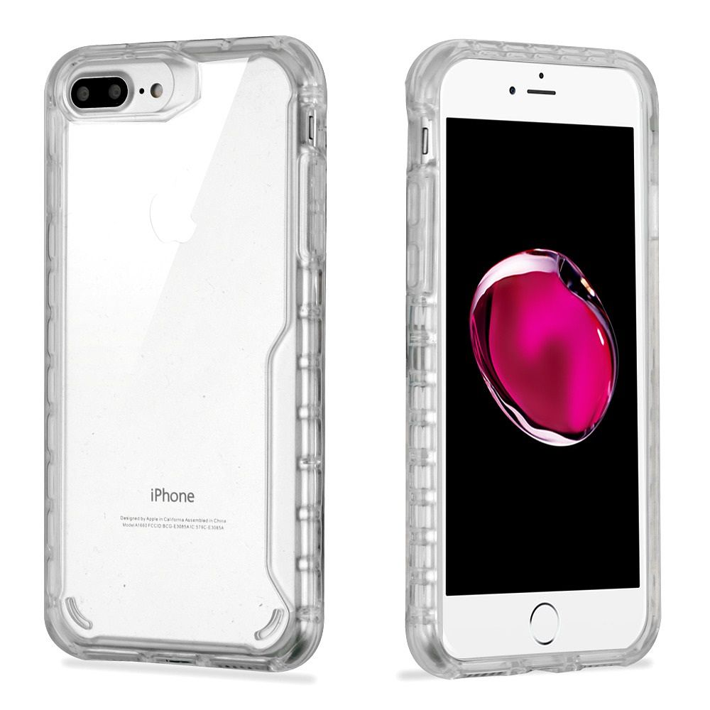 Apple 7 Plus/8 Plus Case, by Insten Scratch-Resistant TPU Rubber Candy Skin Case Cover For Apple 7 Plus/8 Plus, Clear (Combo with Privacy Glass Screen Protector)