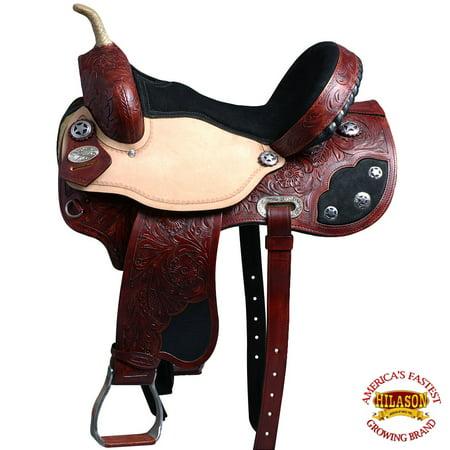 Flex Saddle (14'' Hilason Western Flex Tree Barrel Racing Trail Riding Horse)