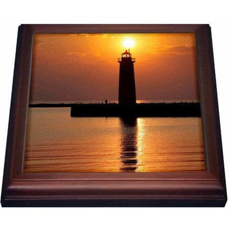 3dRose MI, Muskegon. Lighthouse on Lake Michigan - US23 RER0002 - Ric Ergenbright, Trivet with Ceramic Tile, 8 by 8-inch