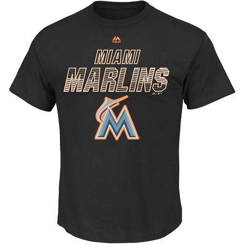 Miami Marlins Majestic Game Reflex Fluorescent T-Shirt - Black
