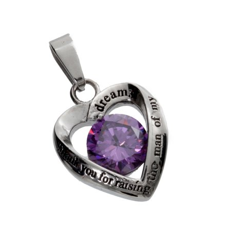 Womens Stainless Steel Heart Pendant, Mother in Law Purple Crystal Pendant Purple Heart Crystal