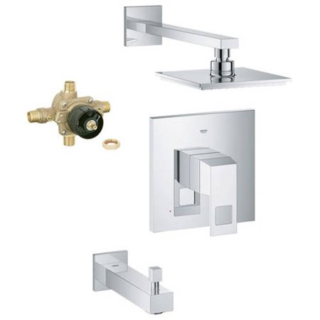 Grohe K35027-35015R-000 Eurocube Shower Tub Combination with Rough-in, Starlight Chrome Grohe Tub Shower