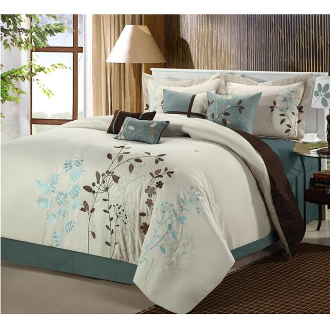 Chic Home 21CK101-US Bliss Garden Embroidered Comforter Set - Beige - King - 8 Piece