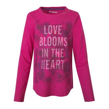 Hanes Girls' Graphic V-Notch Shirttail Long-Sleeve Crewneck T-Shirt