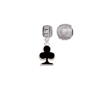 Silvertone Card Suit - Black Club 13.1 Half Marathon Run She Believed She Could Charm Beads (Set of 2) (Card Suit Jewelry)