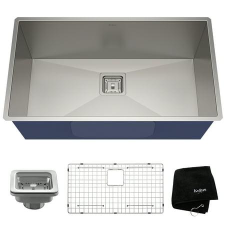 KRAUS Pax™ Zero-Radius 31 ½-inch 16 Gauge Undermount Single Bowl Stainless Steel Kitchen Sink (31 X 19 Kitchen Sink)