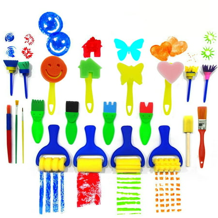 Fun Art And Crafts For Halloween (21Pcs Kids Art Set Flower Sponge Brushes for Painting Fun Painting Sets for Kids Drawing Brushes Tools Set Early Learning Painting Drawing Tools And Craft DIY Art Design)
