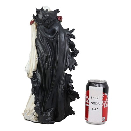 Marie Rose Halloween 2019 (Ebros Wedding Bride and Death Angel Grim Reaper Skeleton The Kiss Figurine 14.25