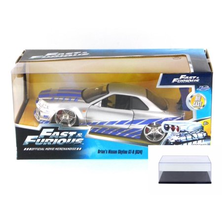 - Diecast Car & Display Case Package - Fast & Furious Brian's Nissan Skyline GT-R, Candy Silver - Jada Toys 97158 - 1/24 Scale Diecast Model Toy Car w/Display Case