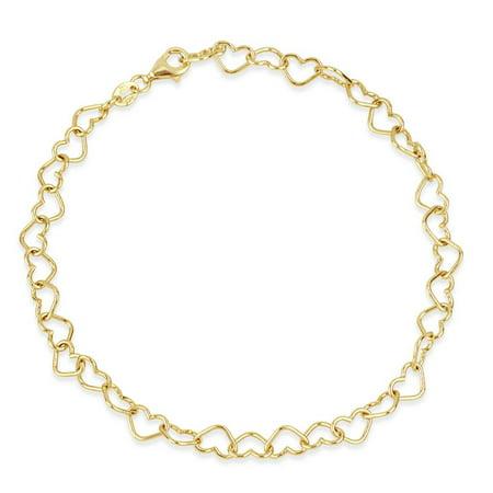 Filigree Heart Anklet - 18K Gold Over Sterling Silver Heart Link Chain Anklet Bracelet 9 Inch