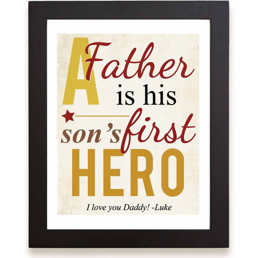 "Personalized First Memories of Father Print, Hero, Yellow, 11"" x 14"""