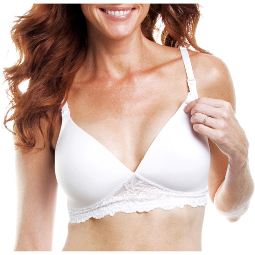 Maternity Lightly Lined Softcup Nursing Bra with Soft Lace Trim, Style 405