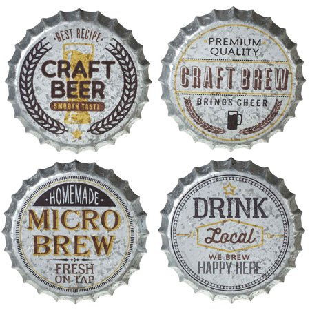 """Set of 4 Assorted Gray Galvanized Beer Bottle Cap Wall Decorations 13.75"""""""