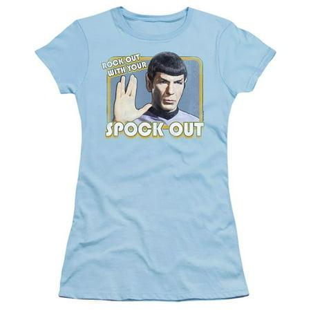 Trevco Sportswear CBS495-JS-3 Star Trek & Spock Out-Short Sleeve Junior Sheer T-Shirt, Light Blue - Large - image 1 of 1