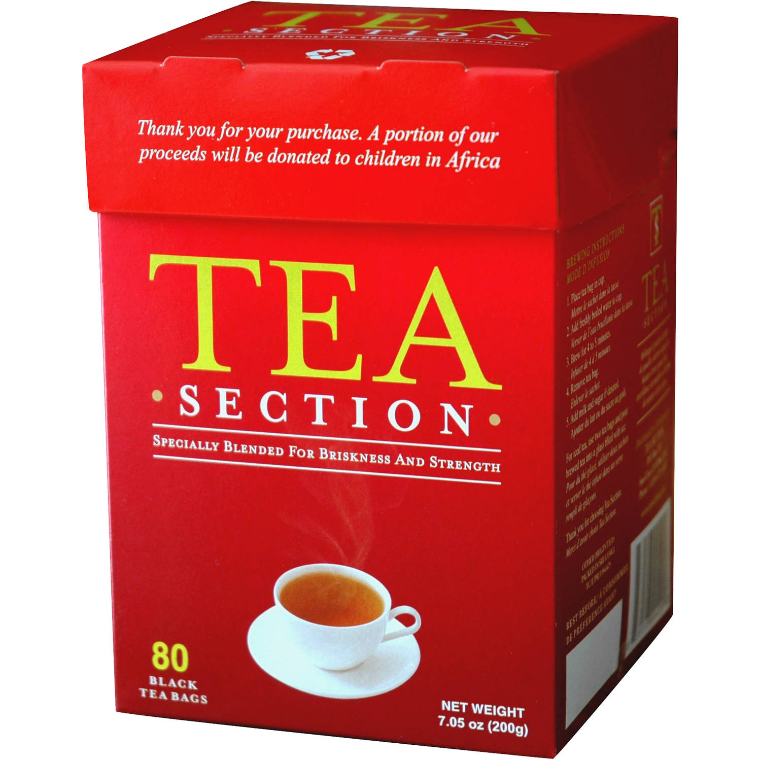 Tea Section Black Tea Bags, 80 count, 7.05 oz