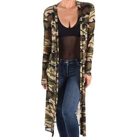 Funfash Plus Size Women Camo Green Mesh Kimono Long Duster Cardigan Made in USA