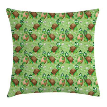 Nursery Throw Pillow Cushion Cover, Pattern with Cartoon Funny Turtles on Green Spring Meadow with Daisies, Decorative Square Accent Pillow Case, 18 X 18 Inches, Green Brown Sand Brown, by Ambesonne