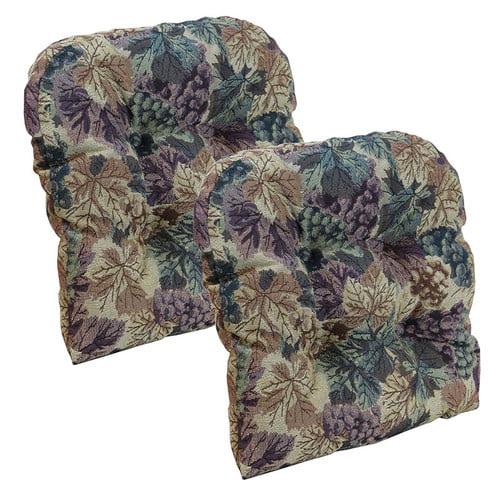 "Gripper Non-Slip 15"" x 15"" Cabernet Tufted Universal Chair Cushions, Set of 2"