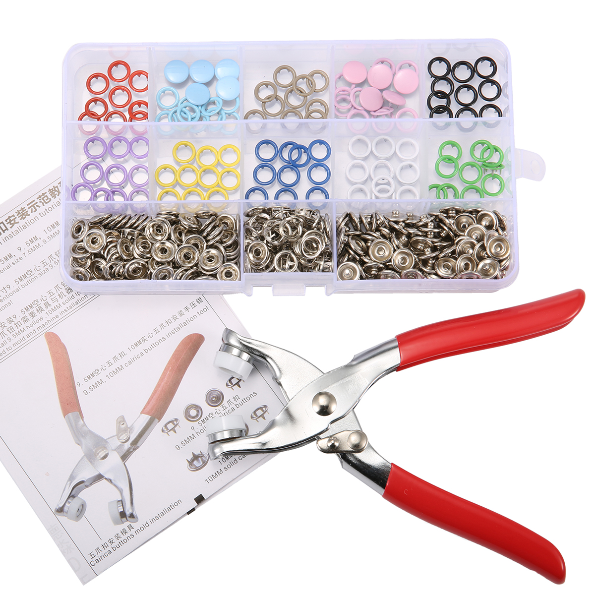 Snap Fastener Pliers Tool Kit 110 Sets Multicolor Copper Press Studs Snap Fasteners Poppers Sewing Clothing Snaps Button