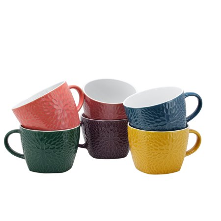 Elama Garden Glee 6-Piece 18 oz. Mug Set, Assorted Colors