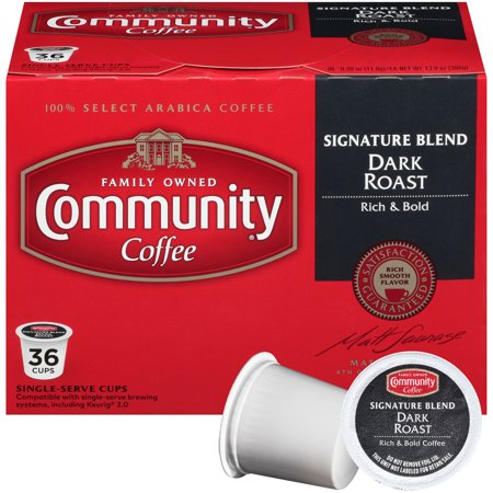 Community Coffee Single Serve Cups Signature Blend Dark Roast Coffee  36 Count  Compatible With Keurig K Cup Brewers