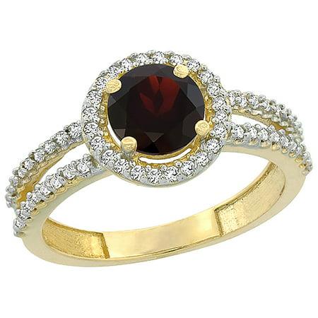 14K Yellow Gold Natural Garnet Diamond Halo Ring Round 6mm, sizes 5 - 10 14k Gold Natural Garnet Ring