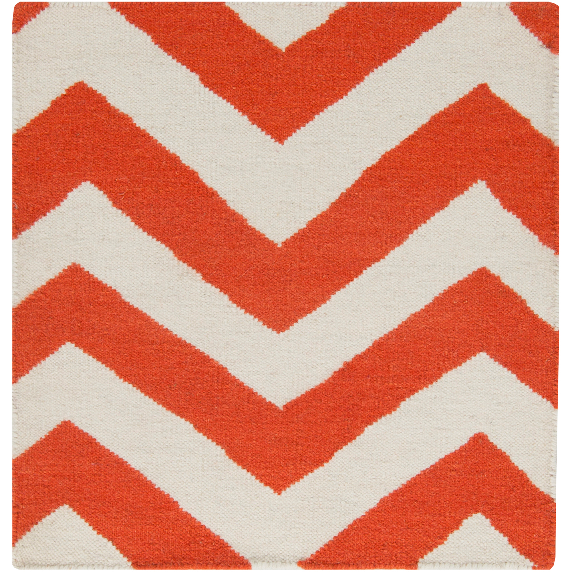 Libby Langdon Laughlin Hand Woven Chic Chevron Flatweave Wool Runner, Rust