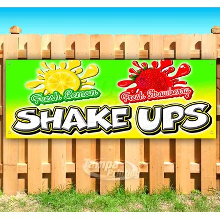 LEMON STRAWBERRY SHAKE UPS 13 oz heavy duty vinyl banner sign with metal grommets, new, store, advertising, flag, (many sizes (Best Store Bought Meal Replacement Shakes)