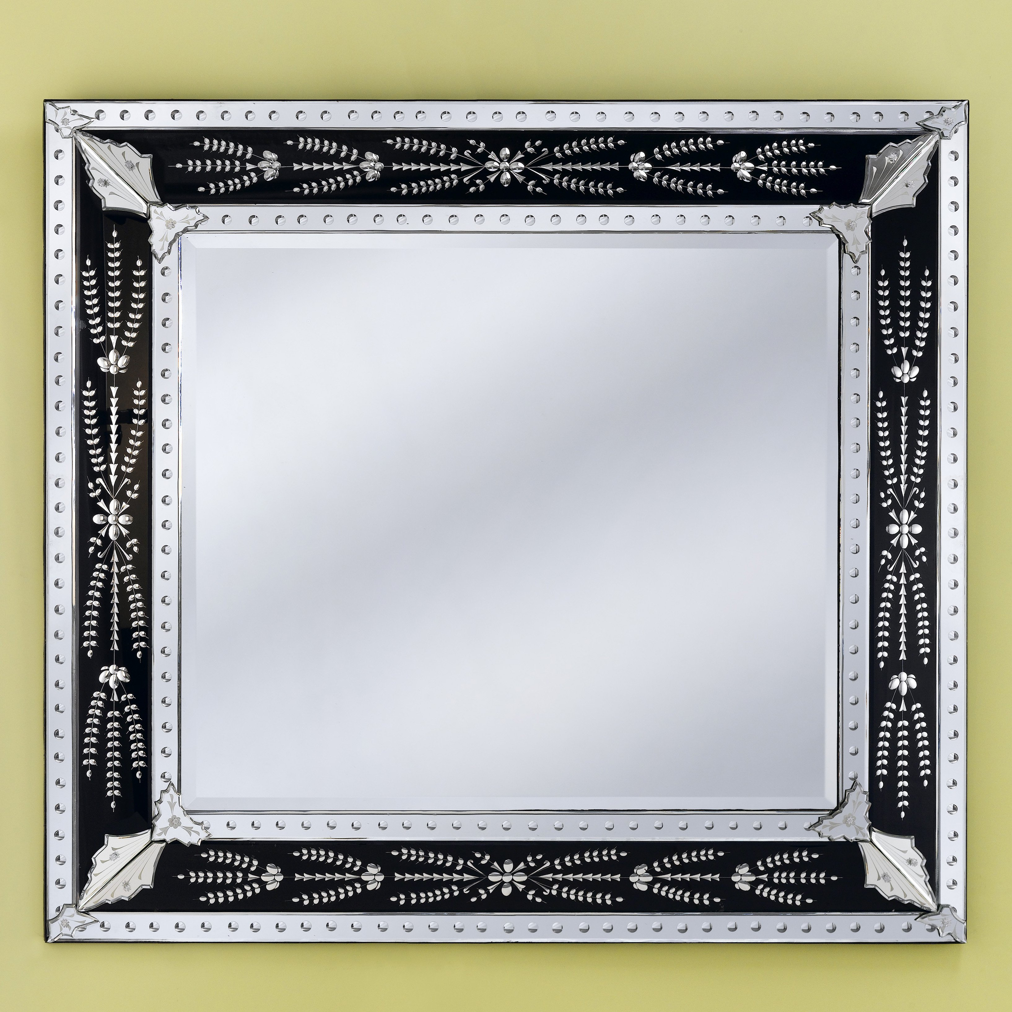 Eleina Black Venetian Wall Mirror - 55W x 50H in.