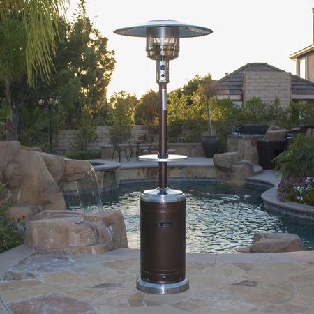 Belleze 48,000 BTU Outdoor Patio Heater LP Gas w/ Drink Table & Wheels, Bronze / Stainless Steel ()