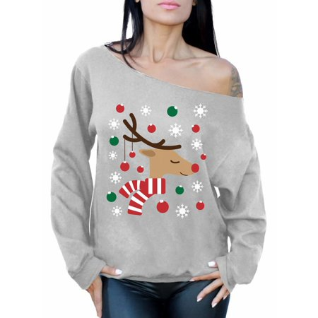 Awkward Styles Reindeer Christmas Lights Sweatshirt Off The Shoulder Christmas Deer Oversized Sweater for Women Funny Christmas Gifts for Her Holiday Party Outfit Reindeer Ugly Christmas Sweater - Woman Ugly Christmas Sweater