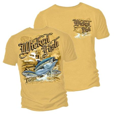 Wicked fish tuna fishing t shirt by erazor bits yellow for Walmart fishing shirts