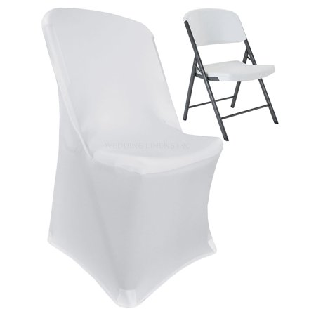 Wedding Linens Inc. Lifetime Spandex Stretch Fitted Folding Chair Covers Wedding Party Decoration Chair Cover - White