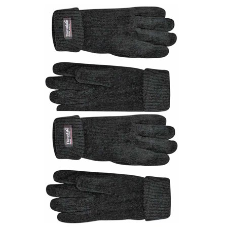 Black 2-Pack Thermal Insulated Lined Chenille Gloves For - Black Gloves For Kids