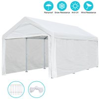10' x 20' Heavy Duty Carport Car Canopy Garage Shelter Tent with Removable Sidewalls and Doors, White