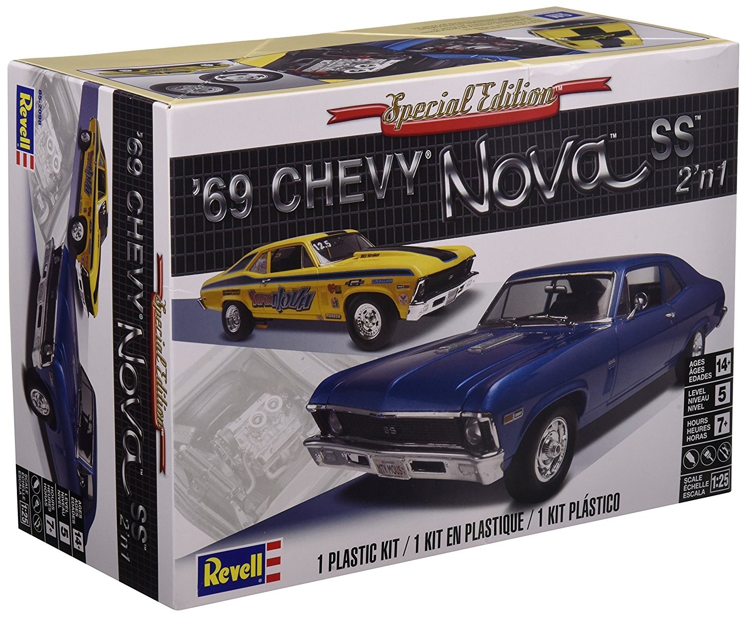 1:25 `69 Chevy Nova SS, Detailed stock small block 350 engine or optional drag race... by